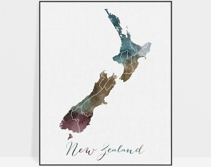 New Zealand watercolor map, Travel New Zealand, Wall art Travel print, map poster New Zealand watercolor print, ArtPrintsVicky