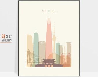 Seoul, Seoul print, Seoul skyline print, Seoul wall art, Seoul poster, South Korea travel poster, travel gift, ArtPrintsVicky