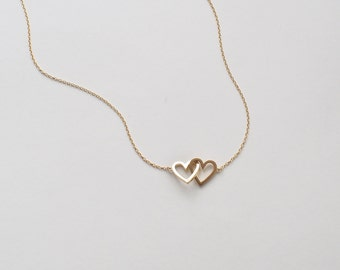 090d27bdce 20% OFF Simple Double Heart Necklace, Dainty Heart Link Necklace, Minimal  Layering Heart Necklace in Silver, Gold, Rose Gold #D96