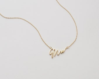 Mrs Necklace,  Just Married Necklace , Delicate Minimalist Necklace in Sterling Silver, Gold, Rose Gold, Gift for Bride #D93