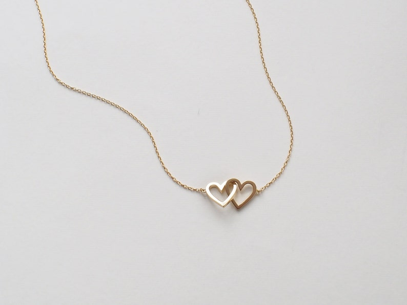 16192394237e9 20% OFF Simple Double Heart Necklace, Dainty Heart Link Necklace, Minimal  Layering Heart Necklace in Silver, Gold, Rose Gold #D96