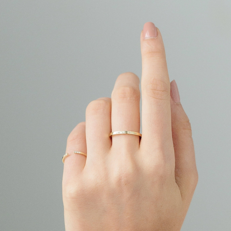 daca270c68651 NINA Ring / Very Skinny Personalized Band Ring / Stackable Custom Name Ring  / Custom Initials Band / Minimal Stacking Rings