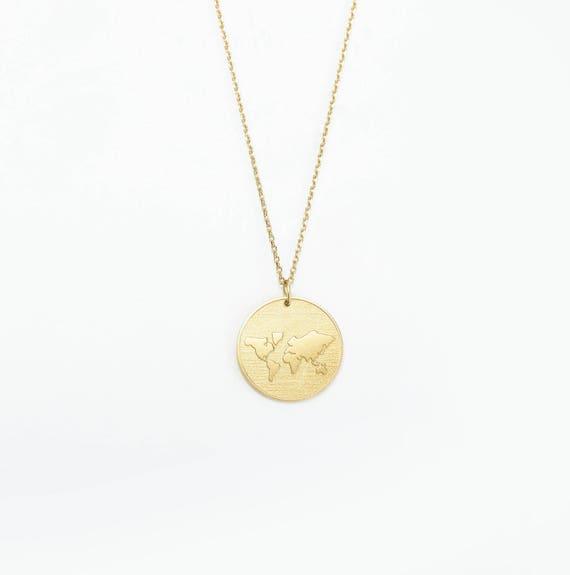 World map medallion necklace map disc necklace globe etsy image 0 freerunsca Gallery