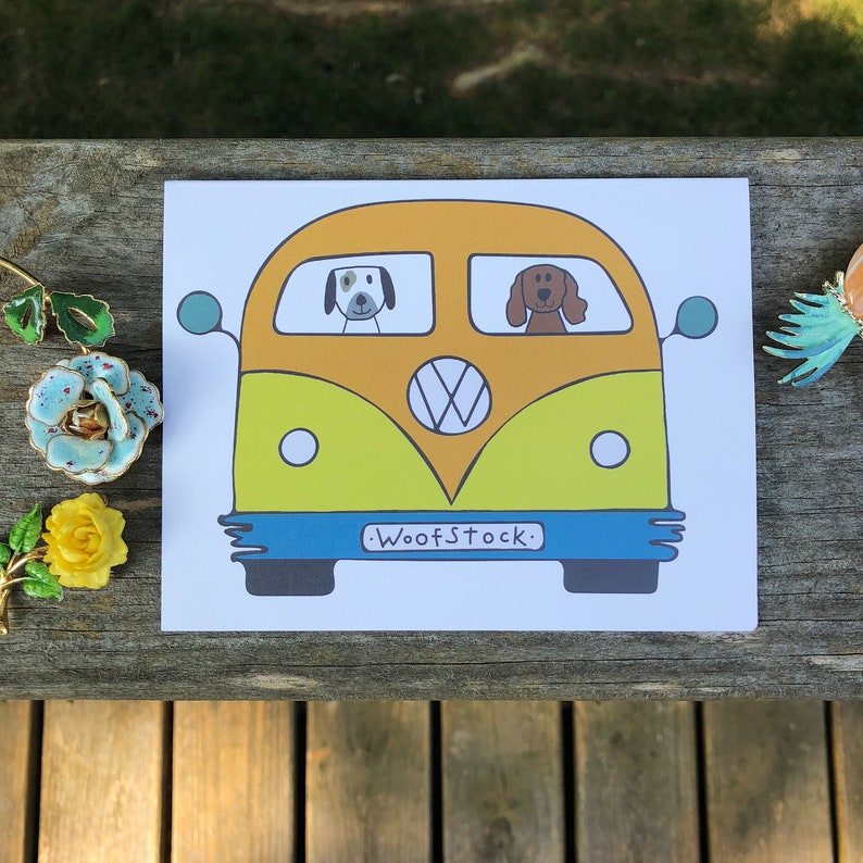 Orange and green Dog VW bus woofstock  birthday card set 4 image 0
