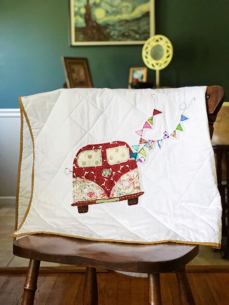 VW Bus RV Camper Quilted Baby Blanket image 0