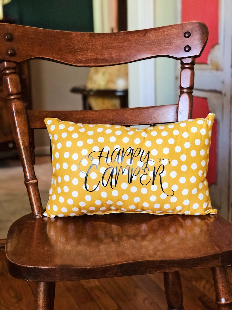Happy Camper yellow polka dot pillow image 0