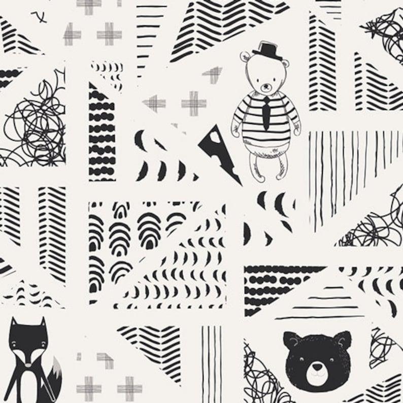 Swirly Friends black and white cotton fabric capsules next Art image 0