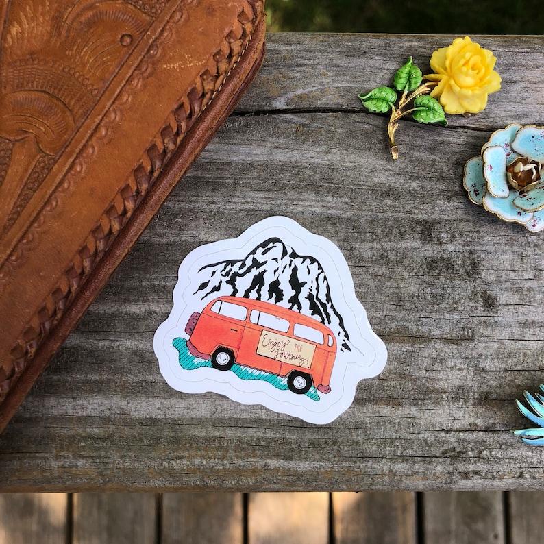 Enjoy the Journey VW Volkswagen Bus Die Cut Sticker or magnet image 0