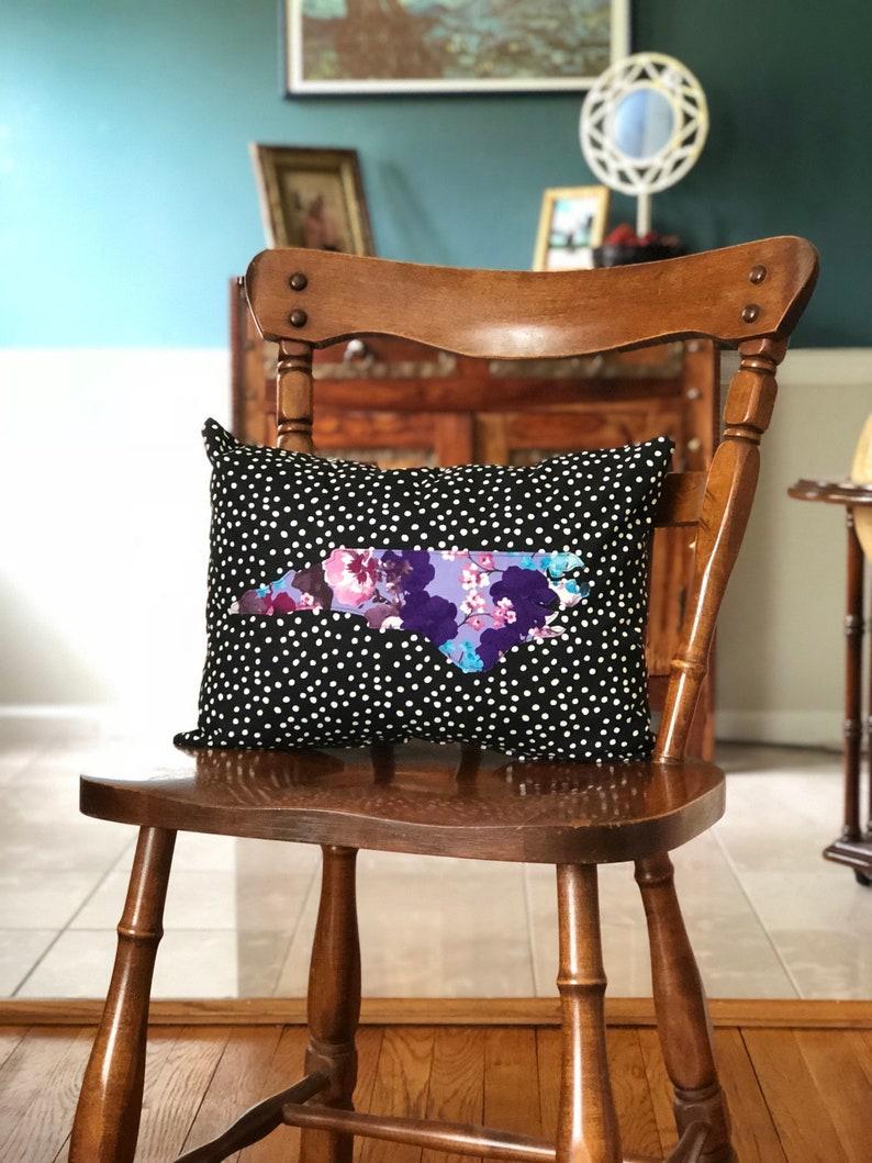 black and white polka dot purple floral North Carolina Pillow image 0