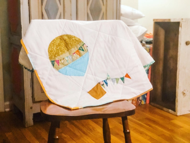 Hot Air Balloon Quilted Baby Blanket image 0