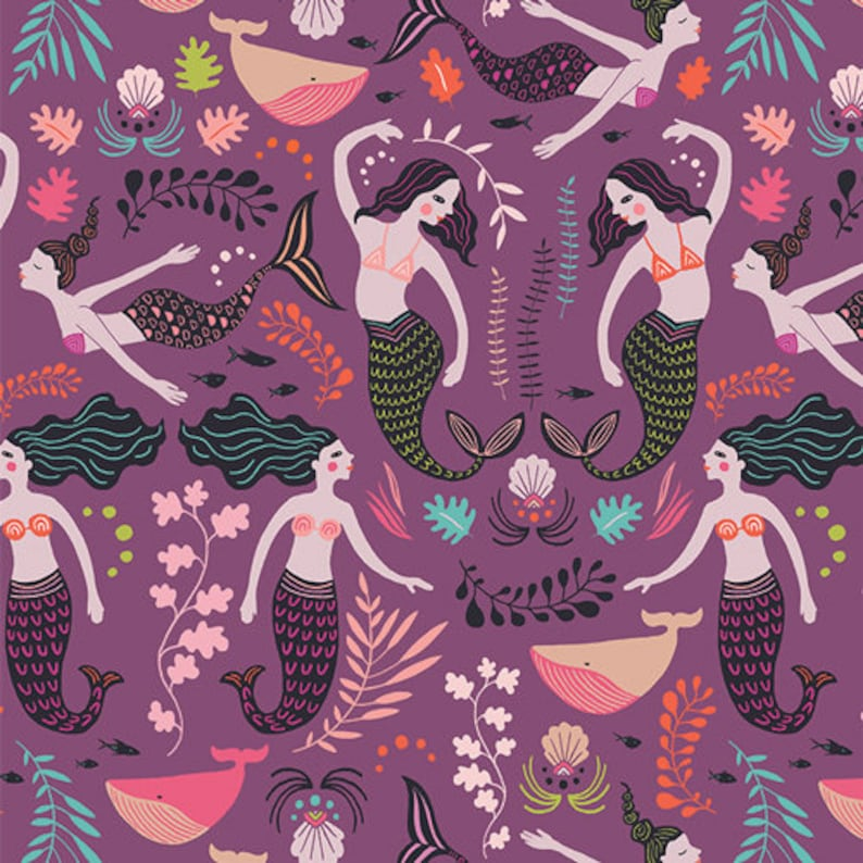 Siren Song Orchid purple mermaid fabric from Sirena designed image 0