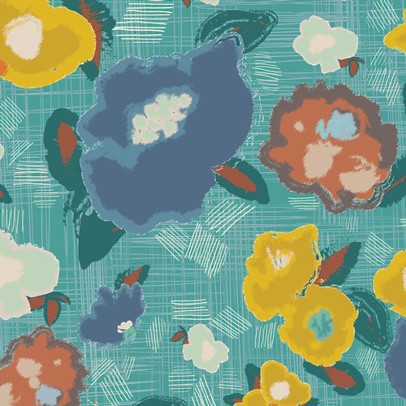 Ad Lib Blooms Quiet floral blue yellow cotton fabric Pat Bravo image 0