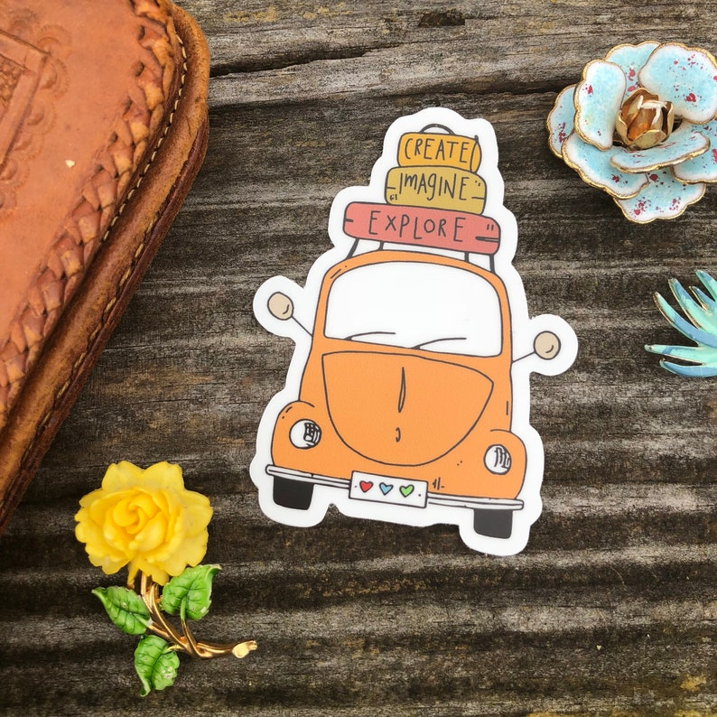 create imagine explore vw bug travel vinyl die cut sticker image 0