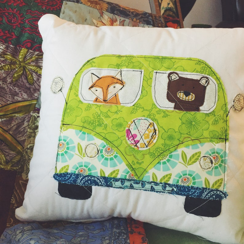 Quilted VW Bus Pillow with Animals image 0