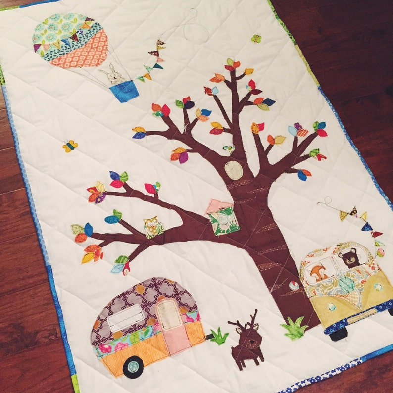 Woodland Animal Baby Quilt with camper and VW Bus image 0