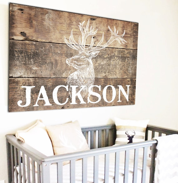 Transitional Nursery With Rustic Wood Wall: Woodland Nursery Deer Sign Fixer Upper Decor Above Crib