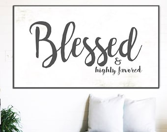 BLESSED SIGN Rustic Sign Gift for Her Home Decor Farmhouse Wall Decor Fixer Upper Signs Scripture Wall Sign Blessed Sign Wall Art Canvas