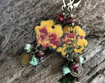 Asian earrings, hippie chic, illustrated enamelled copper, bronze charms floral pattern, Czech glass beads, metal charm