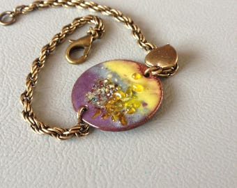 Poetic, Bohemian bracelet yellow purple enameled copper, rope, heart charm, bronze metal chain.