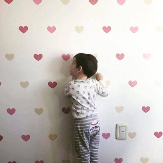 peel and stick Heart wall decal, Nursery Decor Love baby wall decal Pink Confetti hearts kids wall decal hearts pattern decal