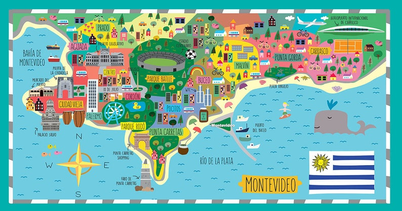 Muursticker Wereldkaart Krijt.Montevideo Wall Decor Kaart Muur Sticker Decor Van Het Etsy