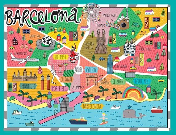 Cartina Barcellona Dettagliata.Barcellona Mappa Decorazione Della Parete Decalcomanie Da Etsy