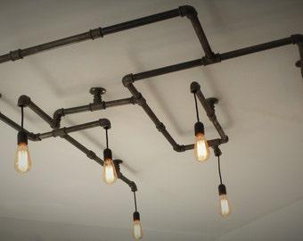 6 bulbs cast iron pipe chandelier