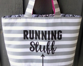 Running Stuff Shopping Tote; Totes with Quotes; Tote Bag; Running Bag; Gift for Runners