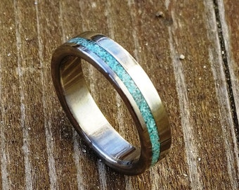 bd6bd70eaa Turquoise Ring with Stainless Steel, Wedding Ring, Engagement Ring, love  gift