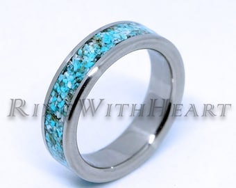 b6b665122f Turquoise and Stainless Steel Ring, Wedding Band, Engagement Ring, love  gift, Turquoise Ring, gift for anniversary