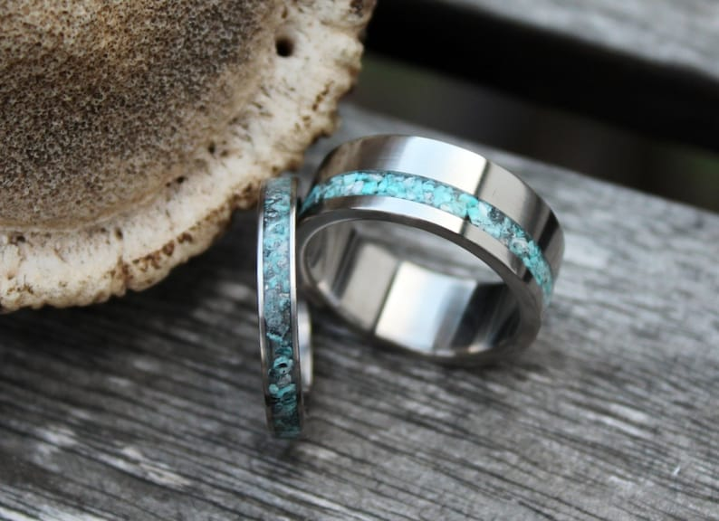 8902585d25 Turquoise Ring Pair with Stainless Steel Wedding Band Set | Etsy