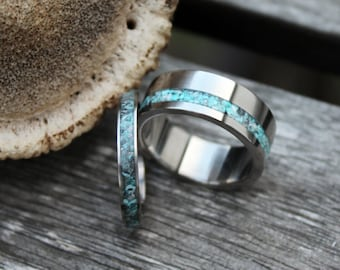 Titanium Ring with Turqouise Wedding Band Set, Two Wedding Ring, Engagement Ring, with Engraving, love gift