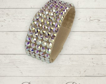 "Swarovski Ballroom Cuff Bracelet 1 "" - 5 rows Swarovski Crystals, Ballroom Dance Jewelry, Ballroom Bracelet, made to size"