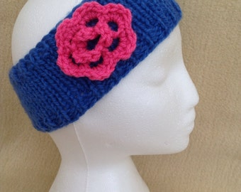 Bright Blue Chunky Knit Ear Warmer/Headband with Bright Pink Crocheted Flower Detail