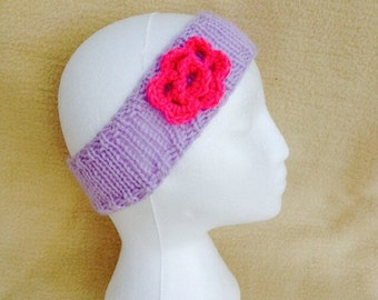 Lilac Chunky Knit Ear Warmer/Headband with Pink Crocheted Flower Detail
