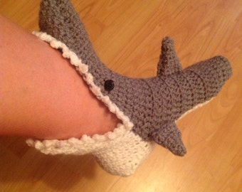 Fabulous Novelty Unisex Hand Crocheted Shark Socks- Adult & Child Sizes