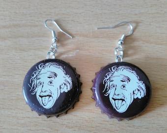 Einstein Bottle Cap Earrings