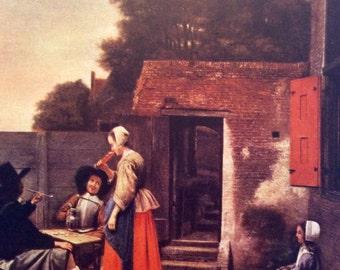 Peter De Hooch,A Dutch Court Yard,Dutch Painting,Child,Amersterdam, Child Print, Childhood Art, Wall Decor, Dutch Art, Netherlands Painting