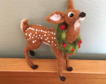 Made to Order, Holiday fawn, Christmas fawn, Needle felted fawn, Fawn figurine ,  baby deer, felted fawn, mantle decor
