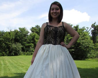 247a721236ad Black Lace and Ivory Chiffon Dress