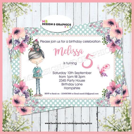 5 Geburtstag Geburtstagseinladungen Mädchen 5 Geburtstag Etsy