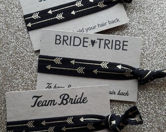 Bachelorette Party Favours, Bracelets, Arrow Hair Ties, Team Bride Hair Ties, Bride Squad, Bride Tribe, Hen Party Favours, Gold Arrows