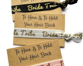 Bride Tribe Hair Ties, Hen Party Favours, Bride, Bachelorette Favours, Bridal Shower Favours, Bracelets, Bridesmaids Gift,  Hangover Kit