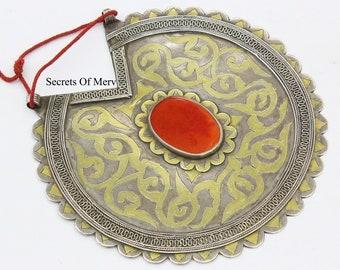 Heart Shape Gold Gilded Ethnic Pendant Turkmen Silver Carnelian Stone Pendant