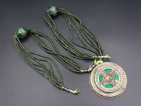 6Necklace Lot  Wood necklace  Blue Necklace  Blue /& Black 80s  Boho necklace Tribal  Layered necklace
