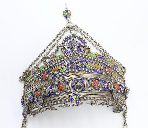 Moroccan Silver Judaica Wedding Crown, Enamel Work
