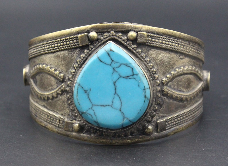 Afghan Traditional Turquoise Bracelet Carved Alpaka Bracelet Belly Dance Bracelet Adornment Adjustable Cuff Bracelet