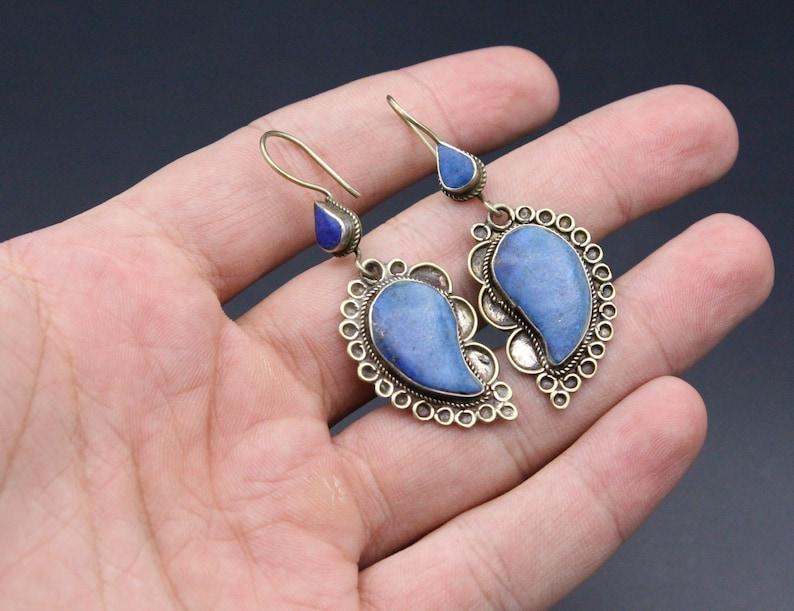 Boho Jewelry Afghan Turkmen Traditional Alpaka Lapis Lazuli Stone Leaf Shape Earrings
