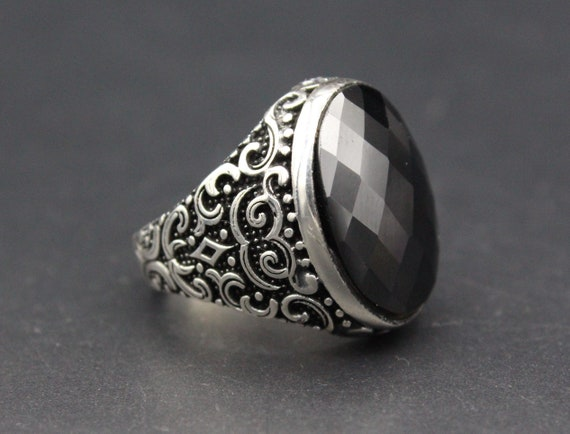 Carved Ottoman Jewelry Ring Black Onyx Stone Diamond Cut Ring Sizes available 925K Sterling Silver Turkish Ring Ring Size 11.5US