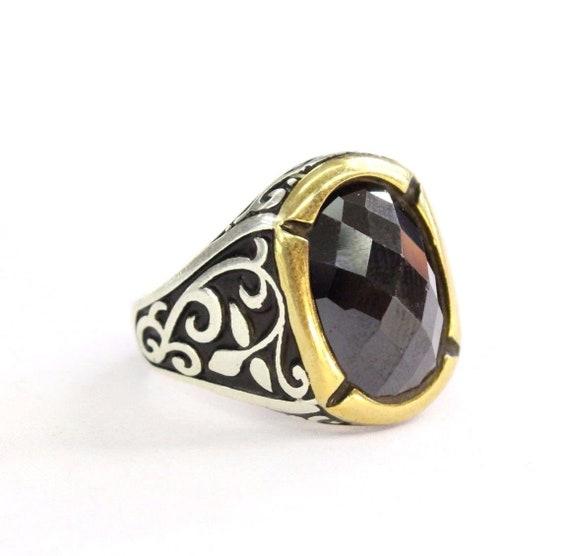 Türkische Ottoman Onyx Steine Ring, 925K Sterling Silber fantastische Ring Größe 11